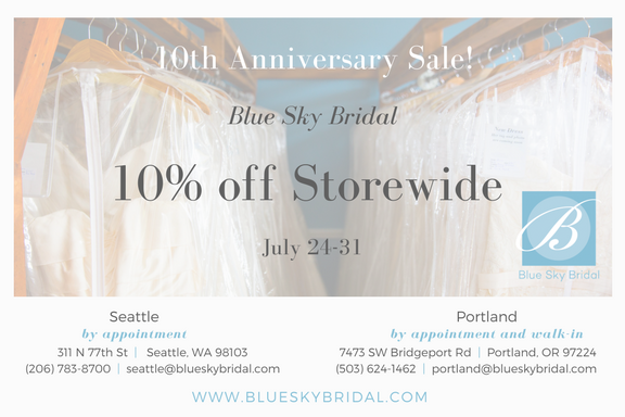 Blue Sky Bridal Seattle 10th Anniversary