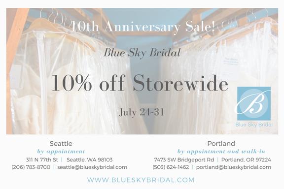 Blue Sky Bridal Seattle 10th Anniversary