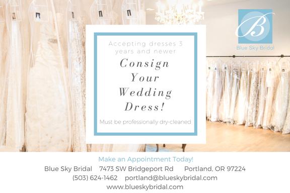b42b9d6010d24 Consign your wedding dress at Blue Sky Bridal in Portland!