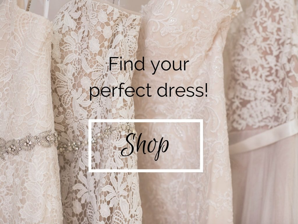 wedding dresses with shop button