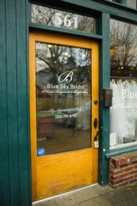 door to blue sky bridal store