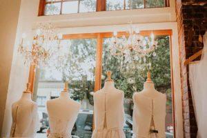 blue sky bridal store window